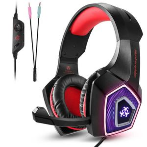 CASQUE AVEC MICROPHONE Tenswall Casque Gaming PS4 Rouge,Casque Gamer fila