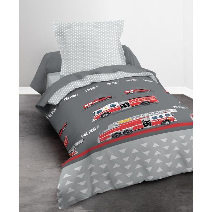 TODAY Parure de couette Happy Fireman 100% Coton - 1 housse de couette 140x200 cm + 1 taie 63x63 cm gris et rouge