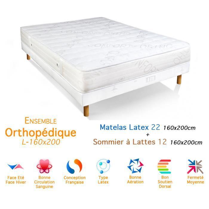 Ensemble Orthopédique Matelas Latex Sommier 2212 160x200cm