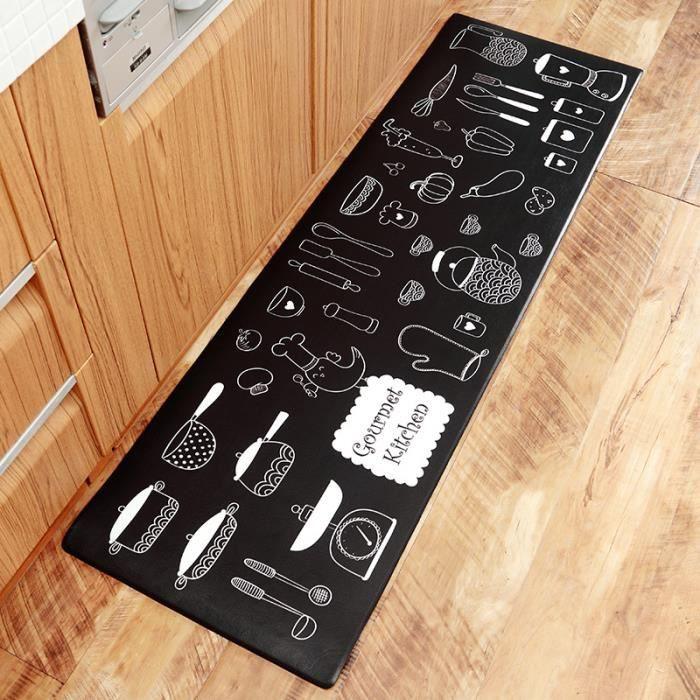 tapis de cuisine en cuir pvc tapis antidérapants avec bandes