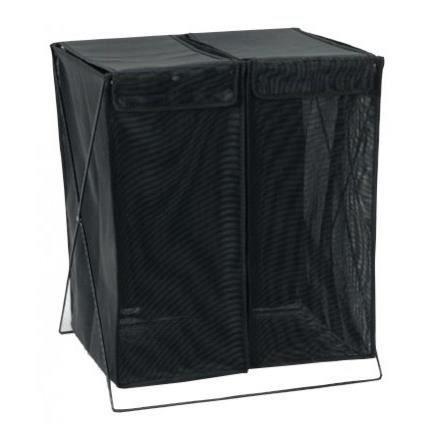 panier linge double compartiment noir sur pied achat vente panier a linge panier linge