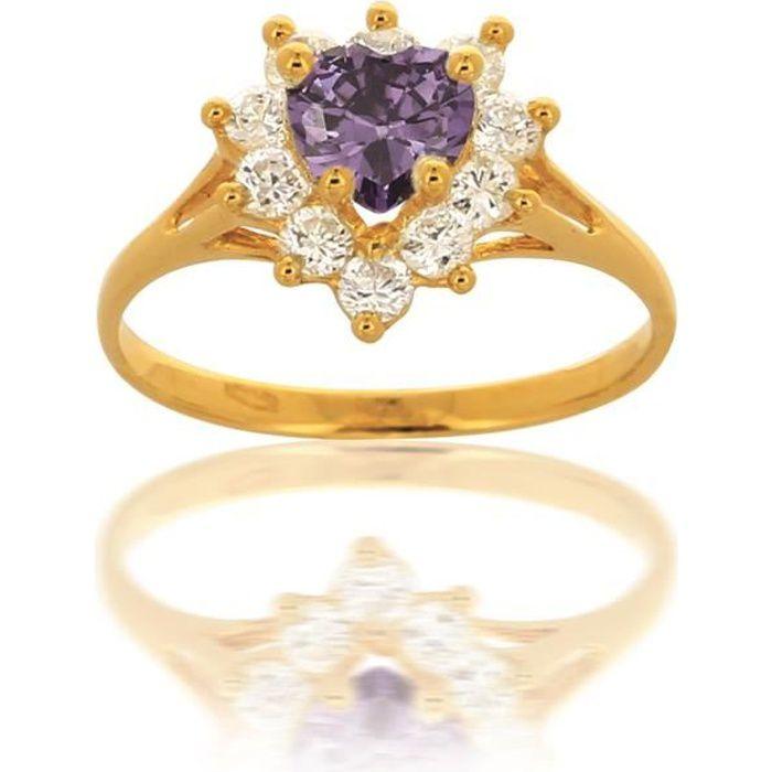 Bague Coeur Or et Zirconium 18 Carats Violet