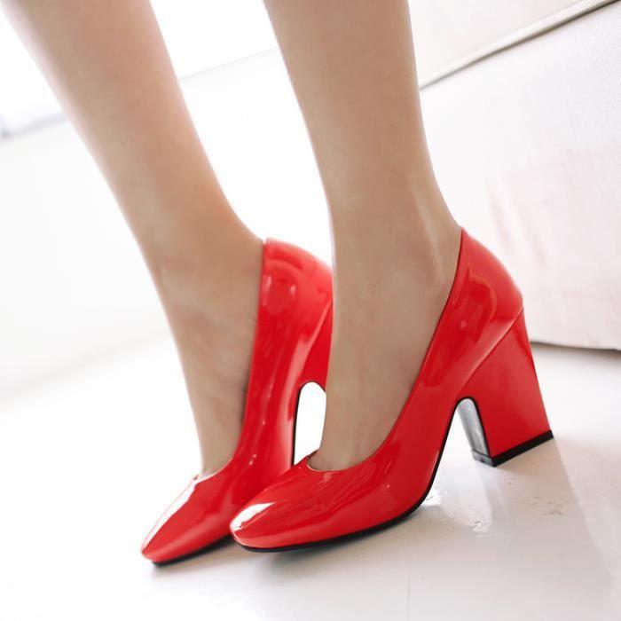 4b4af6bf8b609 Nouvelles rouges tête carrée épais talons hauts chaussures de soirée  chaussures de mariée mariage