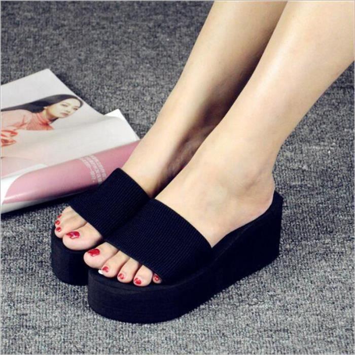 pantoufle été sandale hauteur croissante femmes de chaussures d'été 2017 sandale pantoufles chaussure de luxe femme