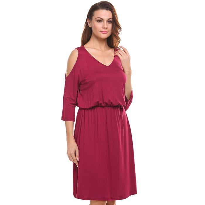 femmes robe Casual v-cou trois-quarts manches solides hors tunique épaule plissé ourlet élastique