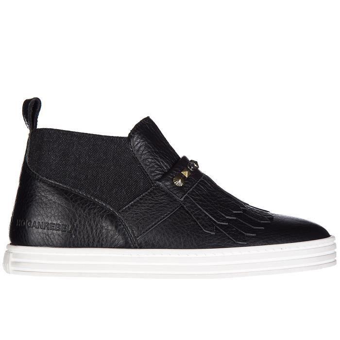 Slip on femme en cuir sneakersr182 mid cut Hogan Rebel