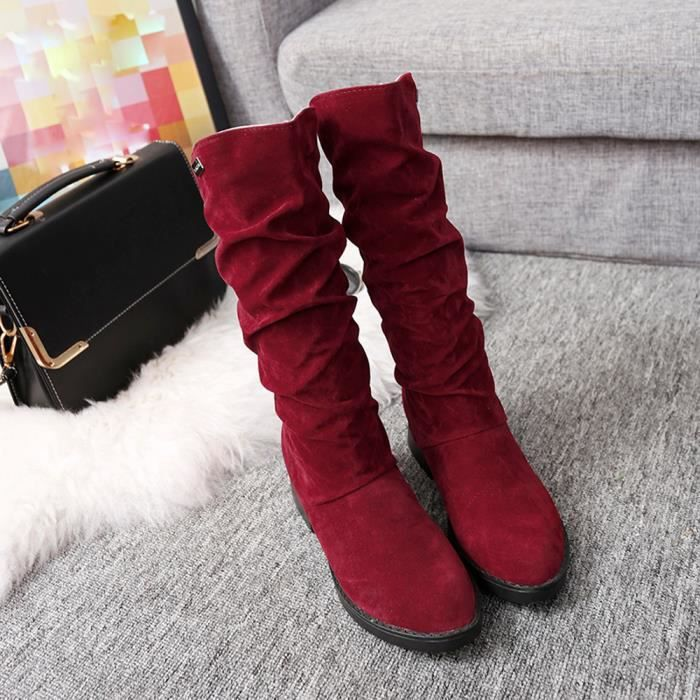 love2133 Botte Stylish Bottes Beguinstore De Flat Douce Chaussures Rouge Neige Hiver Automne Femme Flock xHOOwXYq