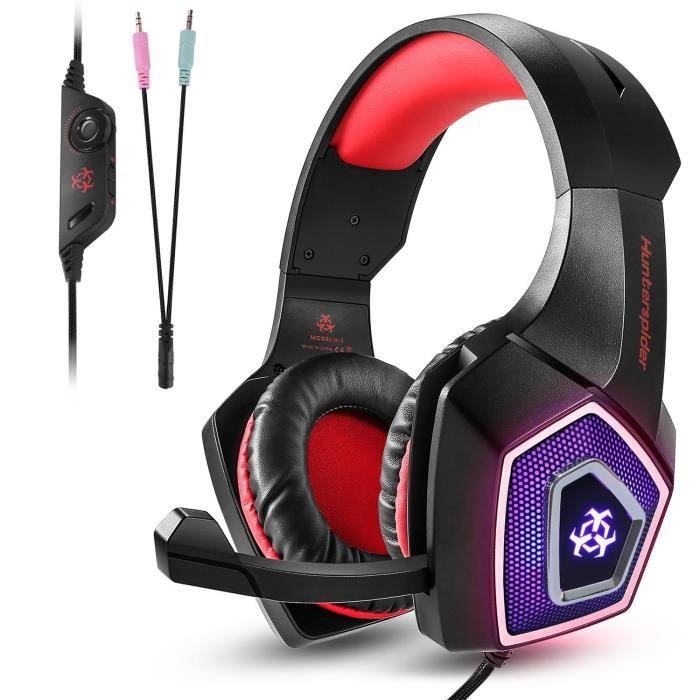 Tenswall Casque Gaming Ps4 Rougecasque Gamer Filaire Pc Avec