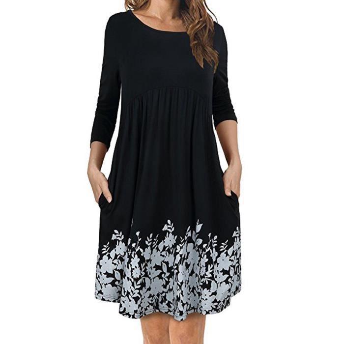 Longues À Manches shirt Sfw80112311bk Plissée T Robe 1647 Femme Floral Noir qHX15