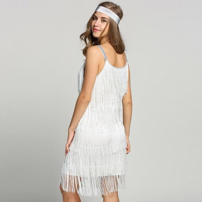 Robe femme bretelles robe glands Costume Glam Fringe Flapper