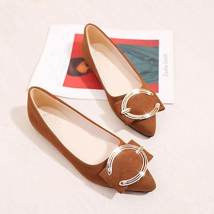 Métal Talon Veberge Simples Femmes Plat Bout Casual Mocassins Pointu Chaussures En 7833 Solide Bouton W57PqHYww