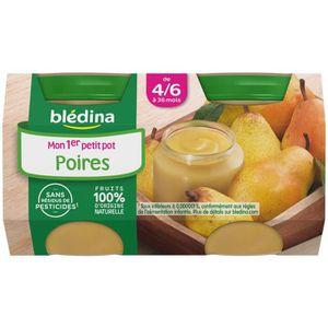 DESSERT FRUITS BÉBÉ BLEDINA Mon 1er petit pot Poires - 2x130 g - Dès 4