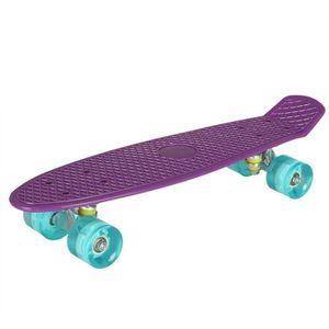 SKATEBOARD - LONGBOARD Skateboard Mini clignotant Plastique violet et ble