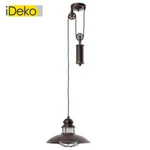 LUSTRE ET SUSPENSION iDeko®Suspension avec poulie en métal coloris roui