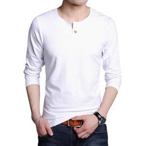 80b460def48d T-shirt ras du cou Couleur unie Mince à manches longues Blanc Blanc ...