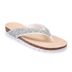 Pantoufles Cool, Chaussures bohémiennes à Talons Hauts d'été avec Tongs antidérapantes (Couleur : Bleu, Taille : 36)