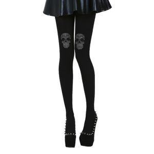 COLLANT Collants gothiques opaques 'strass skull'