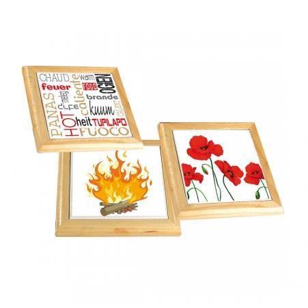 FRANDIS Dessous de plat carré bois céramique