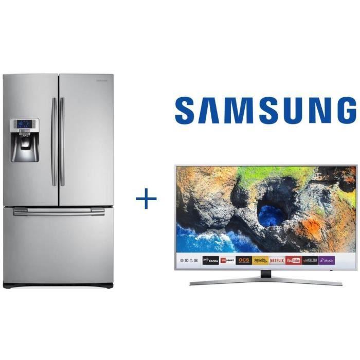 Pack SAMSUNG RFG23RES-Réfrigérateur américain-520L (396 L + 124 L)-Froid ventilé-A+-L 90,8 cm x H 177,4 cm-Inox + UE40MU6405 TV LED