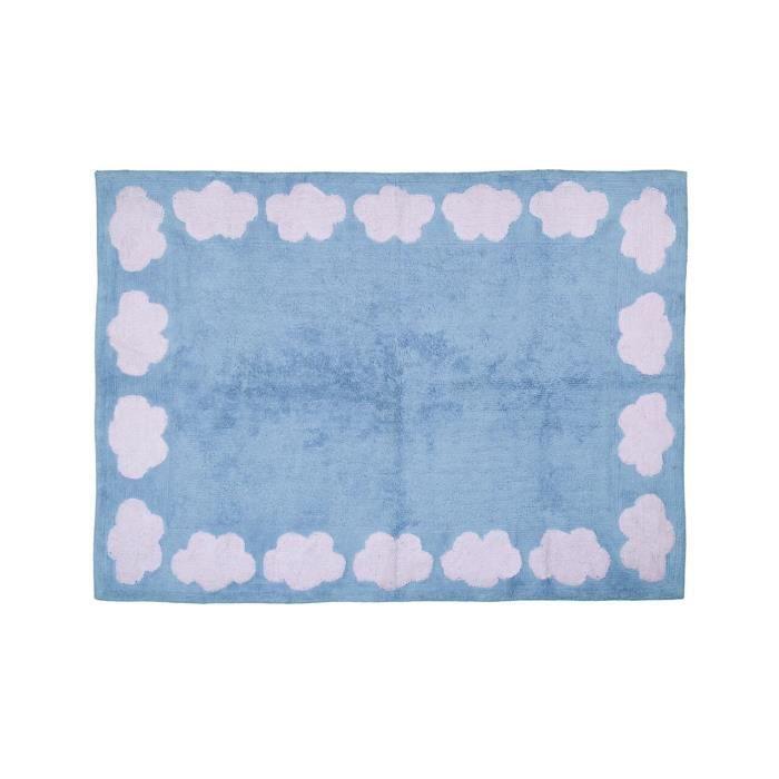 ARATEXTIL TAPIS POUR CHAMBRE ENFANT 100% Coton Bleu - Motif NUAGE ...