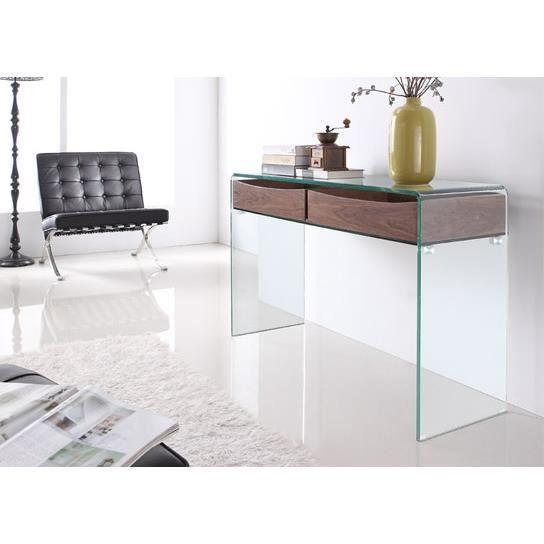 console en verre avec tiroir wengé - Achat / Vente console console ...