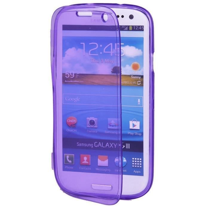 Coque silicone clap samsung galaxy s3 violet etui housse for Housse samsung s3