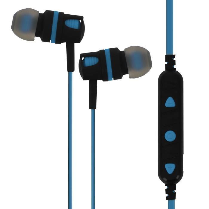 Écouteurs Bluetooth Télécommande Microphone Arceau Tour Du Cou Souple Mtk Bleu