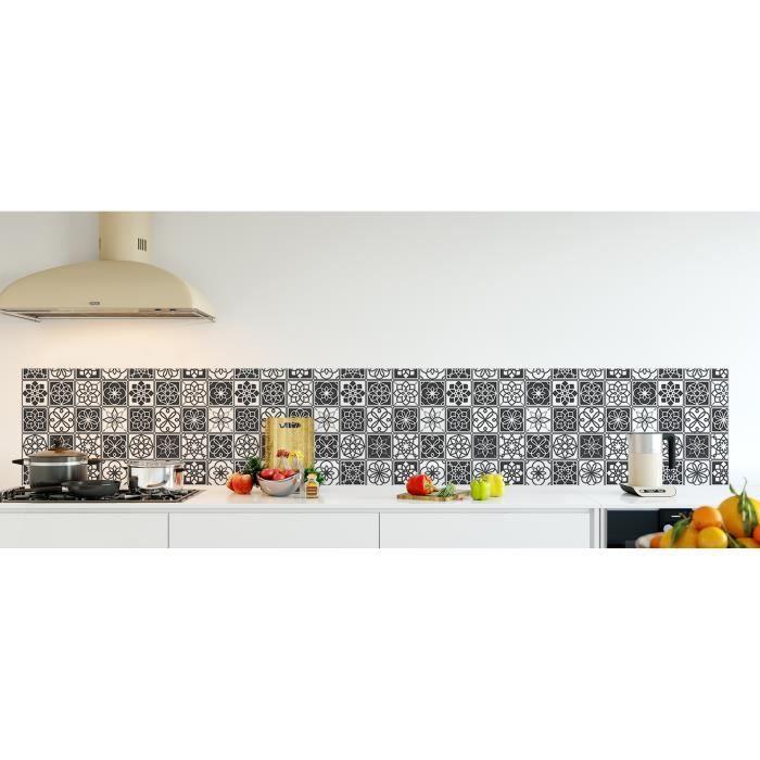Cr dence de cuisine adh sive en verre de synth se carreaux ciments noir et blanc l 300 x h - Credence cuisine noir et blanc ...