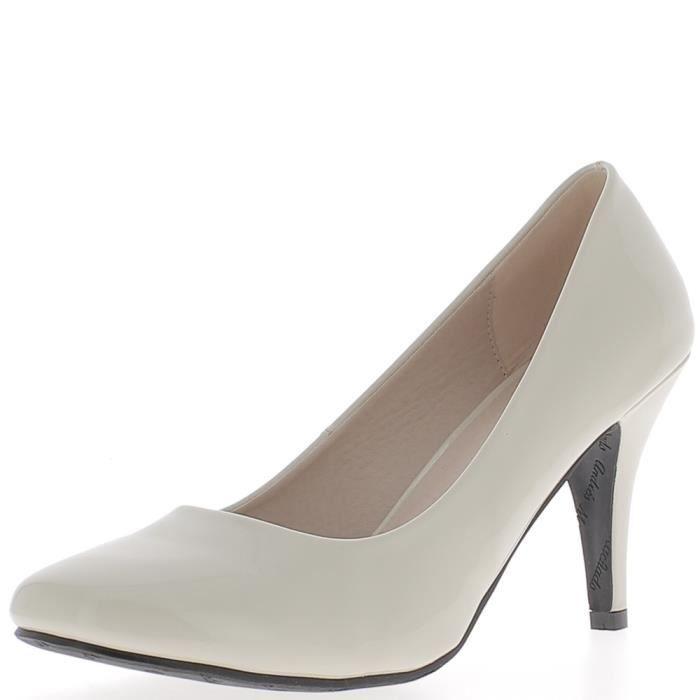 Escarpins femme grande taille beiges clair à talon de 9,5cm Beige ... 38d1cfc2ca42