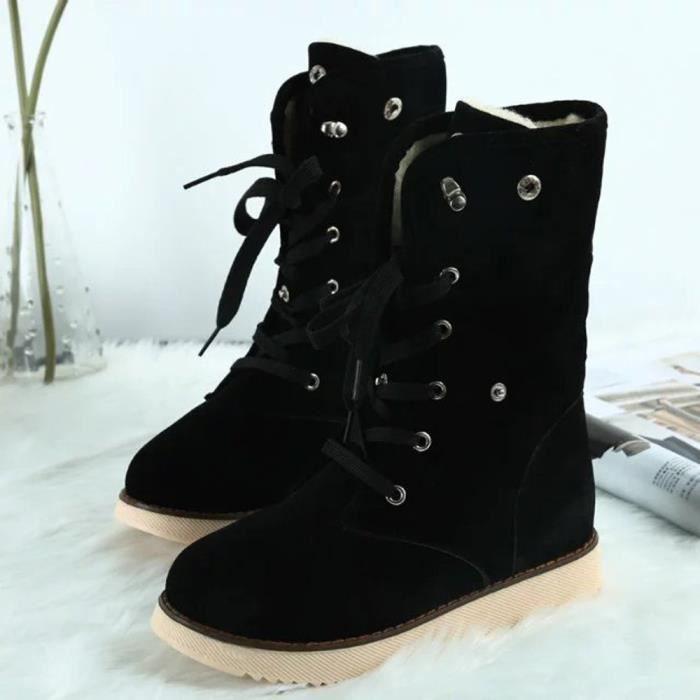 Femmes bottes chaussures Comfort Flats lacets pieds ronds cheville hiver chaud