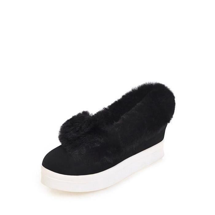 chaussures multisport Femmes Mocassins Fluffy Ornement cheveux intérieur Elevator talon Comfy chaudes 11280292 k4maIES9