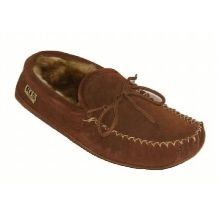 Mens Sheepskin Leather Lined Soft Sole Moccasins VYBG4 Taille-40 1-2