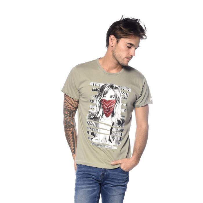 29b0dde61f7c T-shirt Bonnie Blanc Kaki clair - Achat   Vente t-shirt - Cdiscount