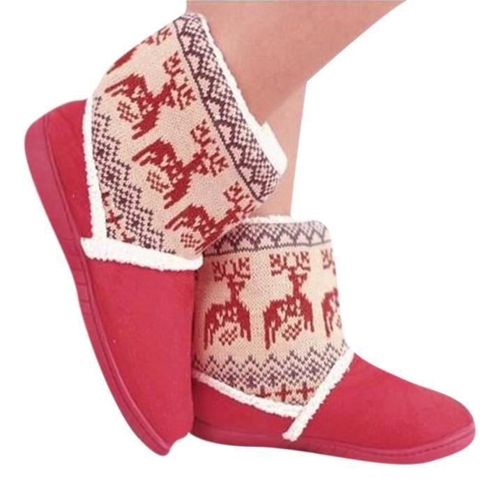 Bottines Femmes Deer Snow Boots hiver Coton-rembourré Chaussures BWYS-XZ033Rouge39