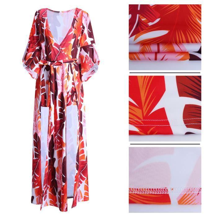 Femmes Robes Nouvelle arrivee Impression Robe Manches Lotus Creux latéral Vetements Sexy Collier V Slim 3D Grande Taille s-xxxl