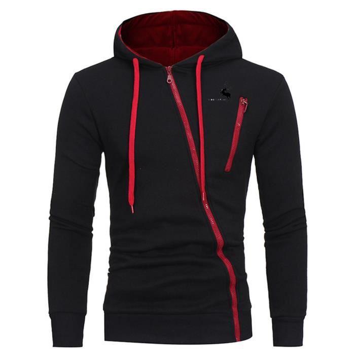 98bb8820c01 Sweat capuche Hommes de marque luxe pas cher de fermeture éclair  asymétrique Sweat shirt Homme Vêtement Masculin