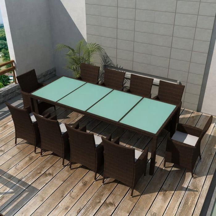 Jeu de mobilier de jardin 21 pcs Marron Ensemble table chaise faute ...