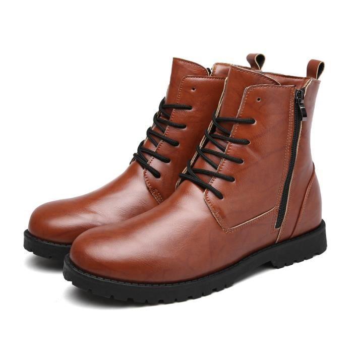 Bottes courtes homme laçage cuir hiver noir marron