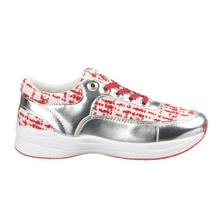 Femme chaussures loisirs chaussures lacer chaussures Sneakers rouge argent 41
