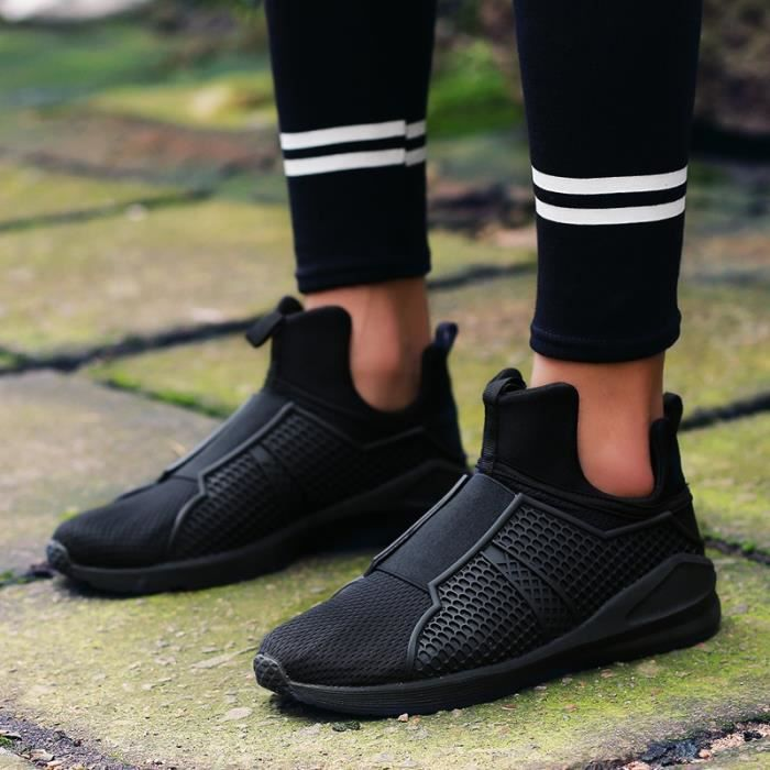 Respirables Mesh Sport Chaussures Casual Mode Hommes Slip-On Chaussures pour hommes,noir,39