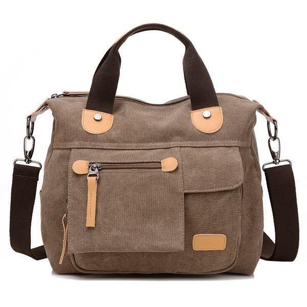SBBKO3340WomenToileCasualGrandecapacitéfonctionnelle Multi Pocket Handbag Shoulder Bag Crossbody Bag Café