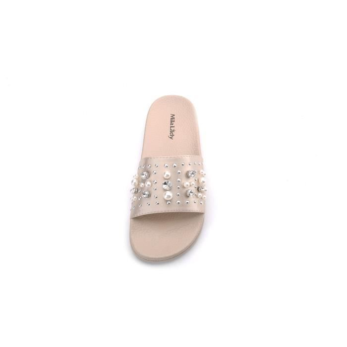 Sandy Fashion Slipper With Pearl And Rhinestone Upper Slip On Silky Slide Sandal HXXVF Taille-38