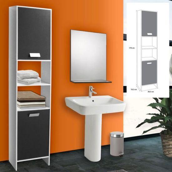Colonne salle de bain design en bois blanc et gris - Achat / Vente ...