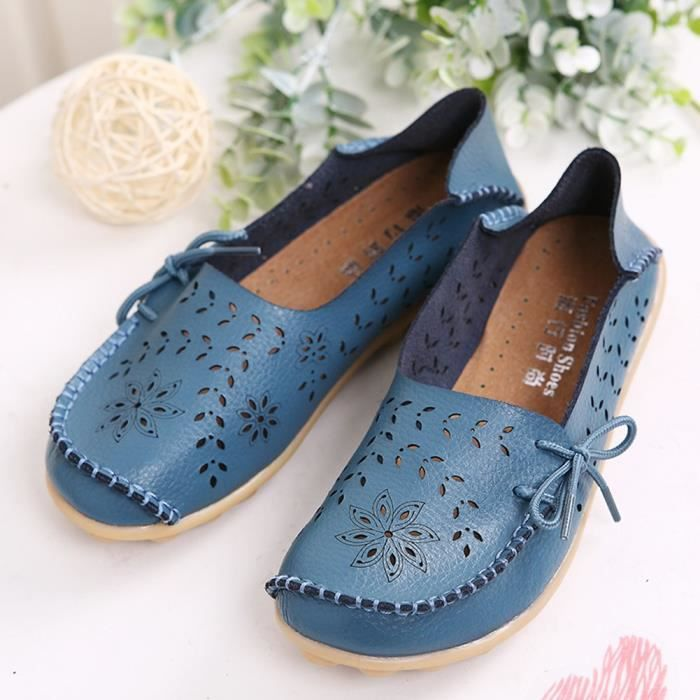Women' S Leather Loafers Casual Moccasin Driving Outdoor Shoes Indoor Flat Slip-on Slippers CARF2 Taille-40