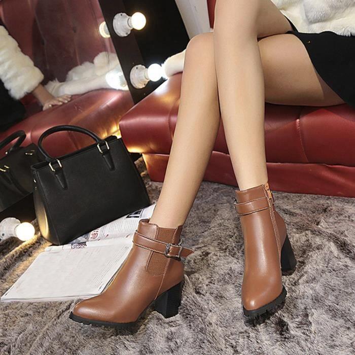 Dames Martin Femmes Chaud Boucle Faux Talons Bottines Wei1792 Hauts Ceinture Bottes Chaussures F5fq5