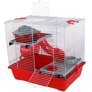 ACCESSOIRE ABRI ANIMAL Watson Hamster Cage Tubes Red 2 Niveaux Hamsters N