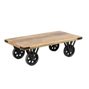 Beautiful Table Basse Sur Roues Bois Et Acier Aglae L With Grosse Roulette  Pour Table Basse