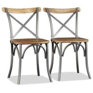chaise chaise de salle manger 2pcs bois de manguier mas