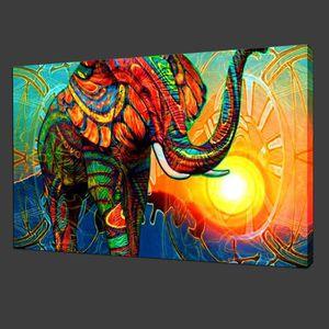 TABLEAU - TOILE Home Décoration Oils Paintings Colorful Elephants