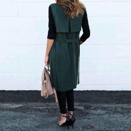 Manteau Manches Femmes vert Casual Pocket Sans Gilet Blazer Jacket Long New 6fqzdXwZxX
